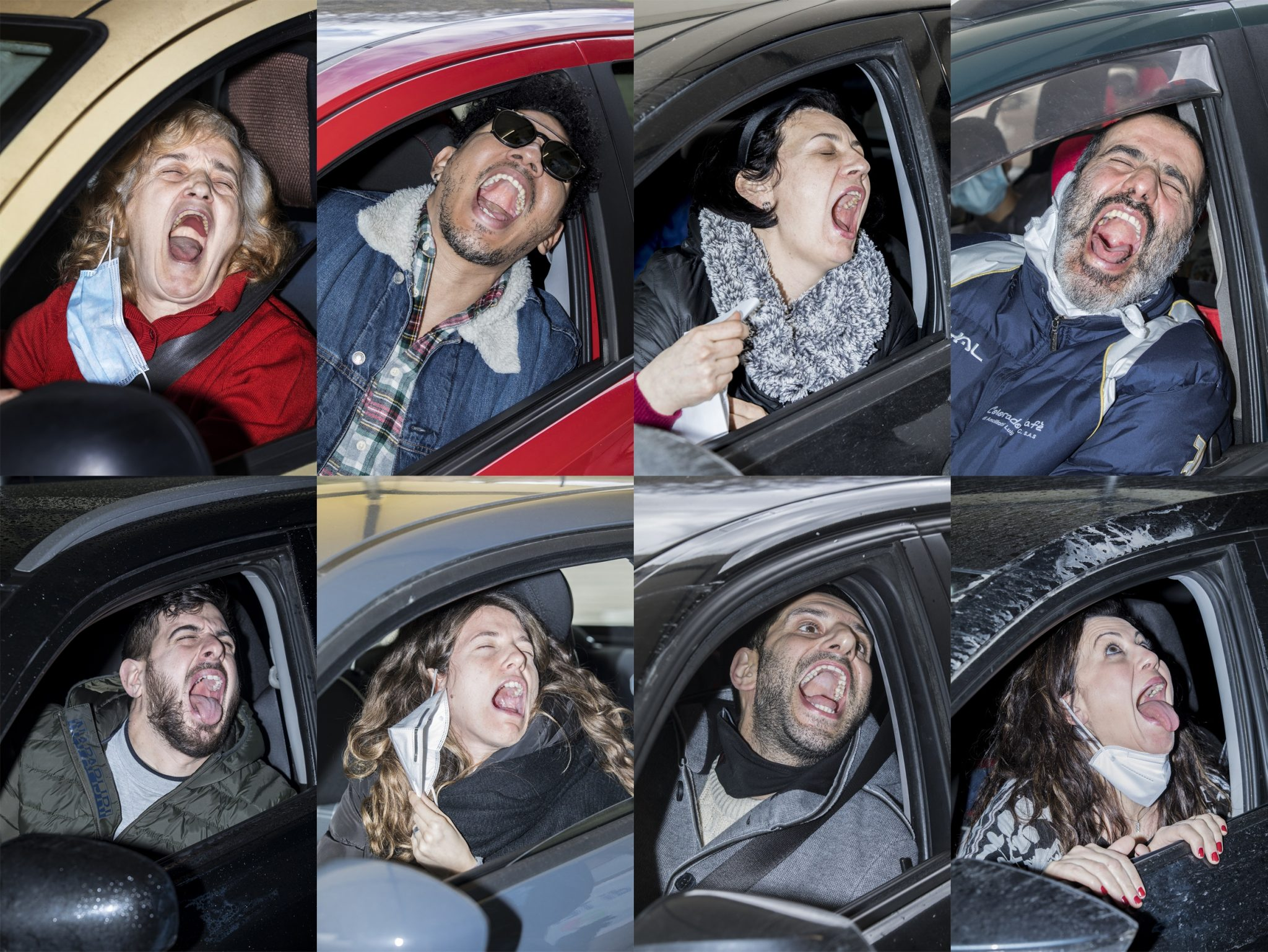 People portrayed moments before undergoing a COVID swab test in a drive-through clinic. Italy, 2020