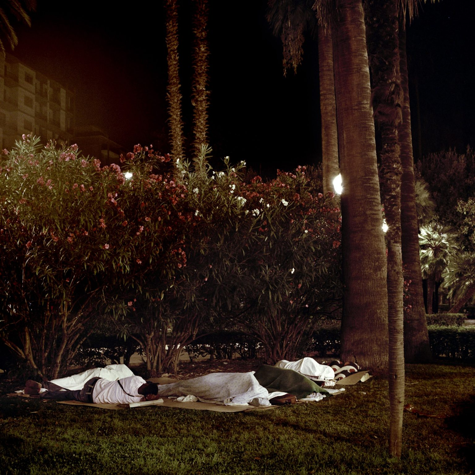 In the public gardens in the city of Bari immigrants sleeping on the grass.