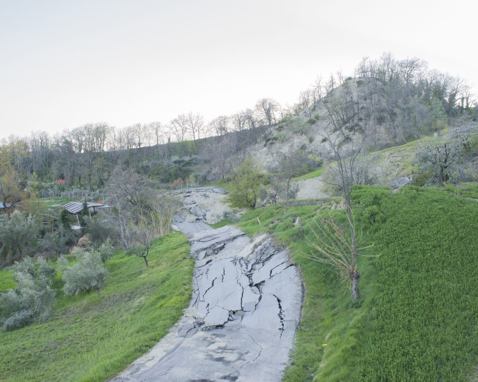 Landslide-prone slope threatening the inhabited centre. The landslide was activated on 12 February 2017. The causes of the event have been attributed to various factors: the earthquake tremors on 18 January 2017, the abundant rainfall, and the melting of the snow, all contributed to the instability of the terrain. Ponzano, Teramo, Italy, 2017