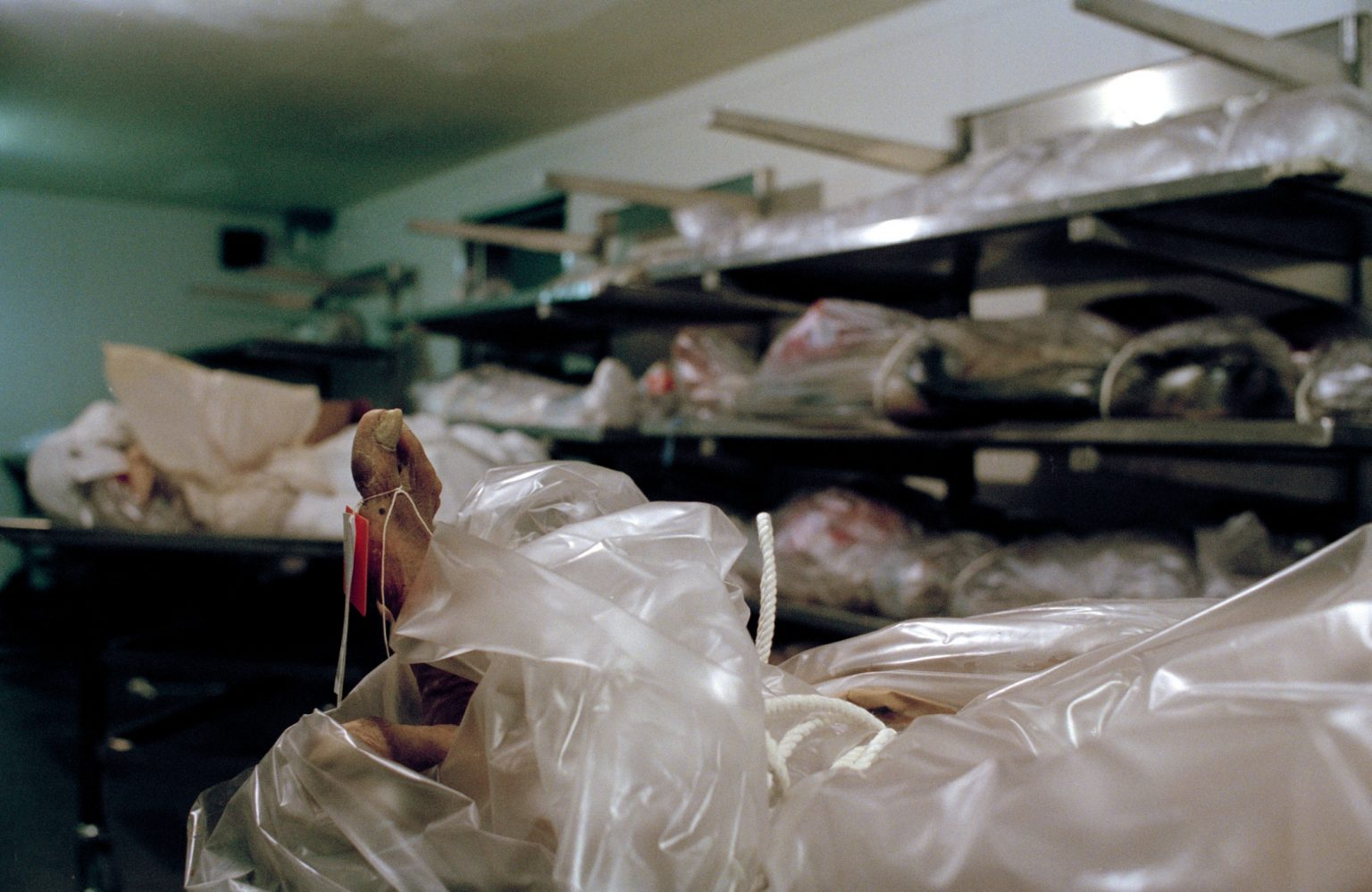 Morgue. Here are kept the bodies of the unidentified people for six months. If nobody claims them they are cremated after 6 months. Skid Row, Los Angeles, United States 2004-2005