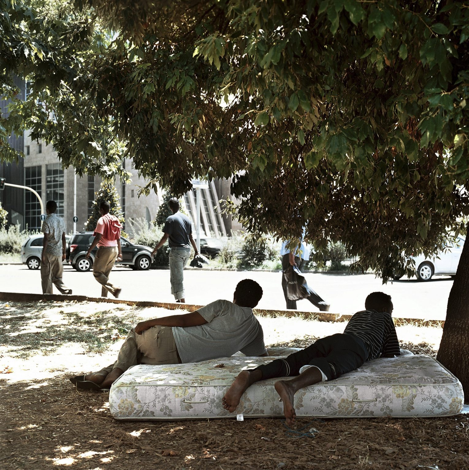 Several immigrants that came from Somalia asking for political asylum in Italy are seen in a central area in the city of Florence.