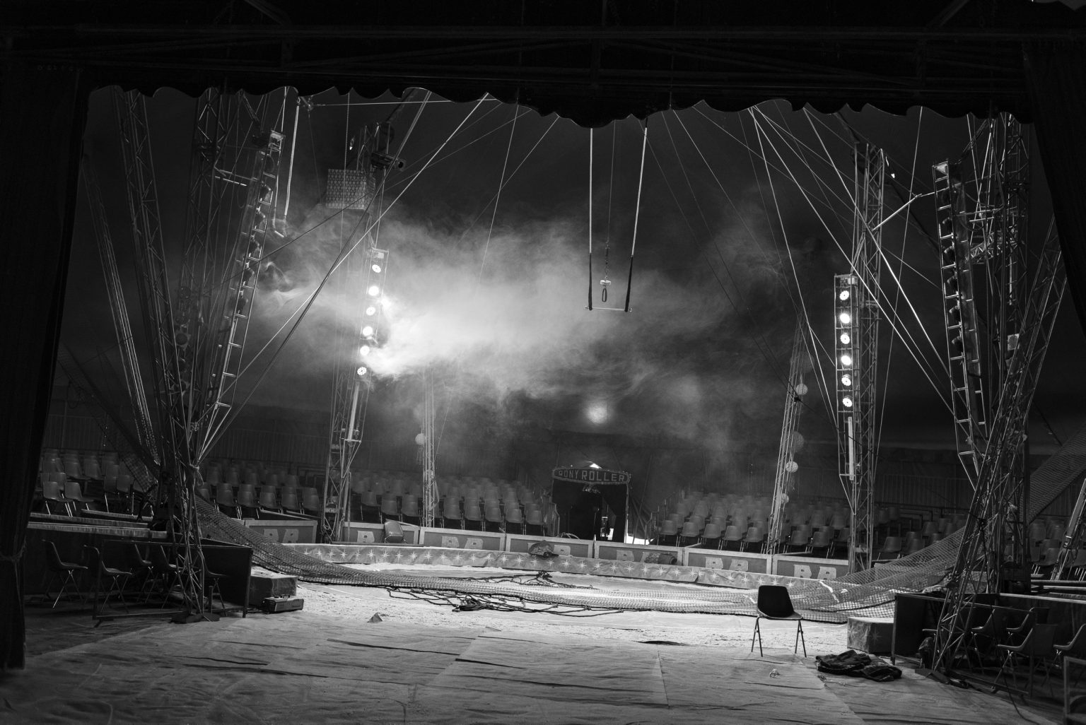 Rony Roller, circus of the Vassallo family. Circus life.  The empty circus in the morning before the afternoon show. Rome, Italy, 2017
