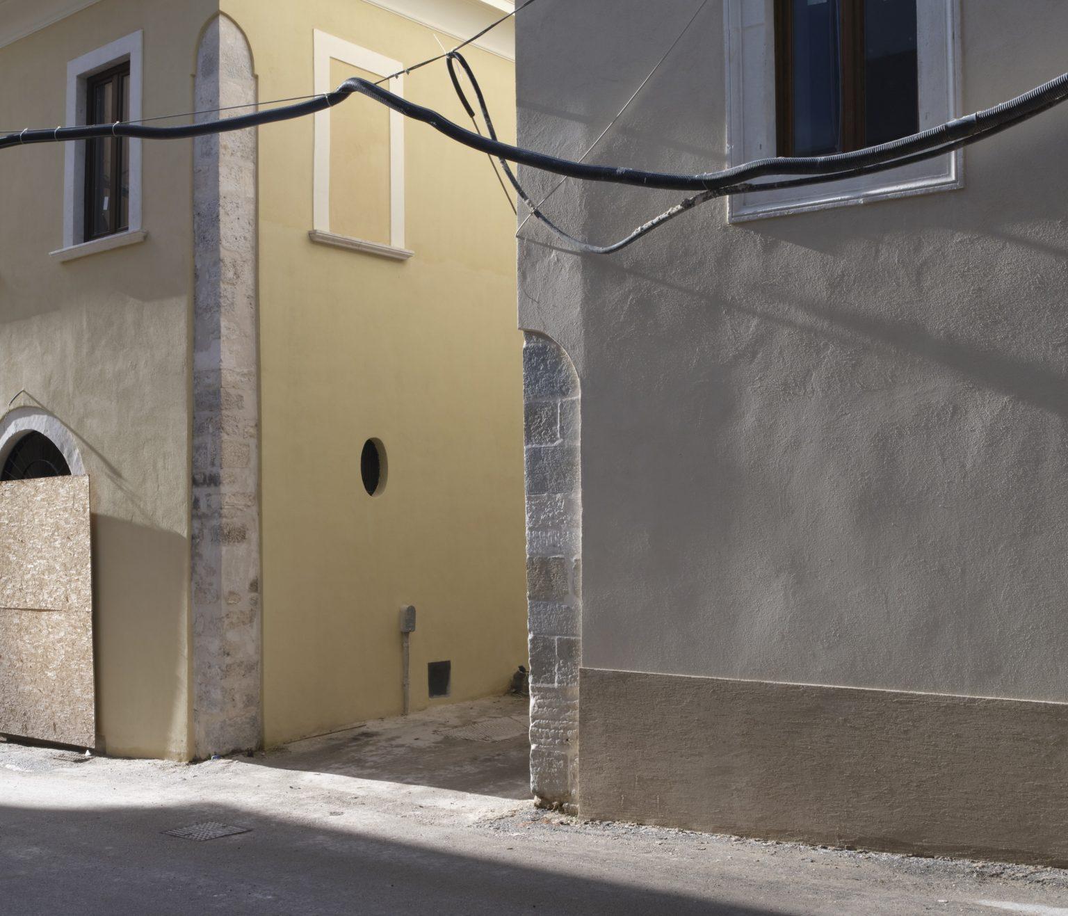 Via dell'Arcivescovado, renovation of private residential buildings. L'Aquila, historic center, Italy, 2019