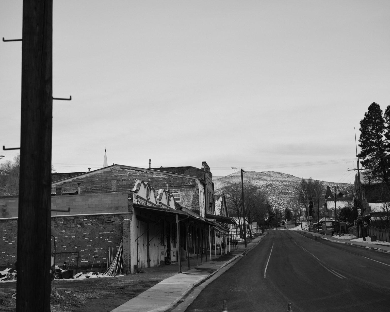 Road crossing town in Austin, Nevada 2020