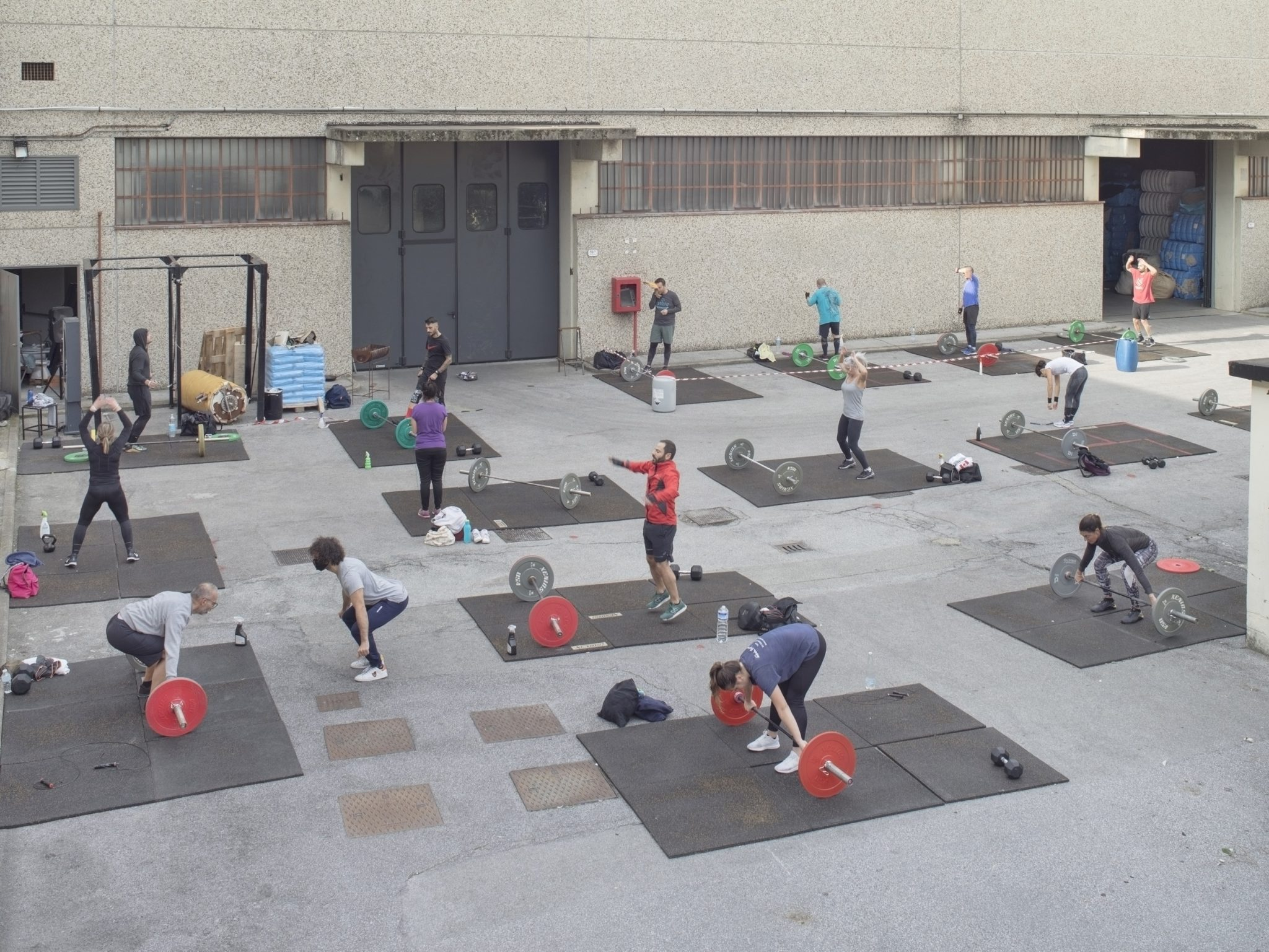 Crossfit gym in the industrial area of Prato, Italy, 2020
