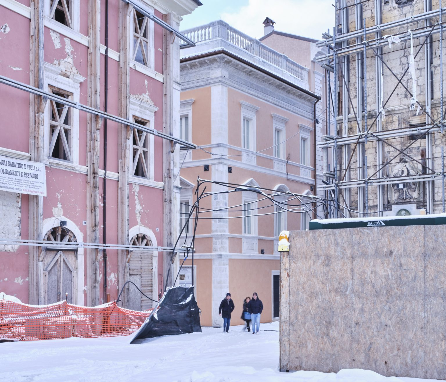Palazzo square. Final phase of the restoration of the Palazzo del Capitano located in the area of Piazza Palazzo which, since the foundation of L'Aquila, has been the civic center of the city. L'Aquila, historic center, Italy, 2019