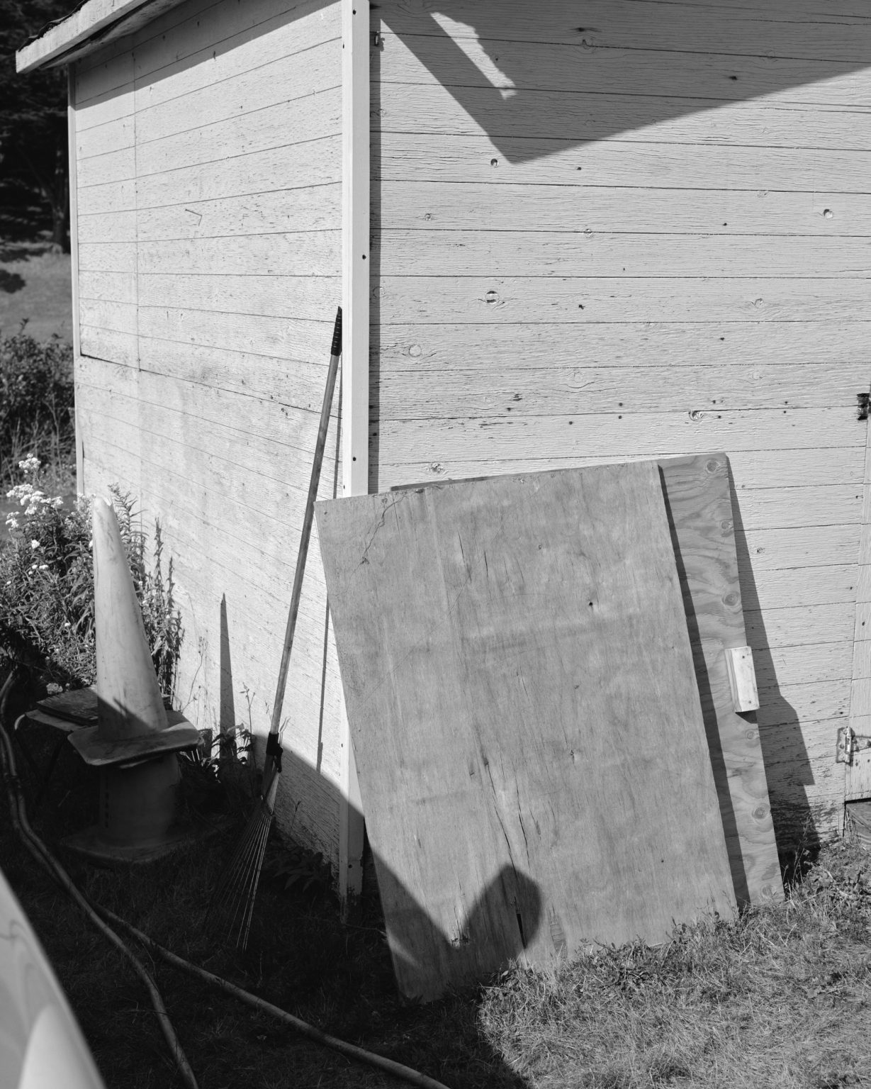 Rake and wood leaning on a shed. California 2020