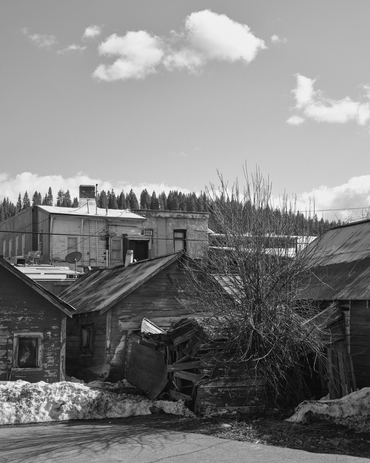 Back lot and sheds in the winter. California 2020