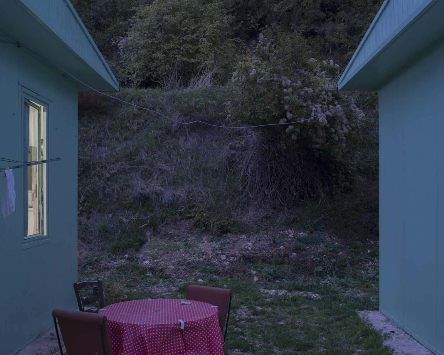 Temporary housing units erected following the earthquake of 1979 and then re-used after the earthquake of 2016. Collescille di Preci, Perugia, Italy, 2017