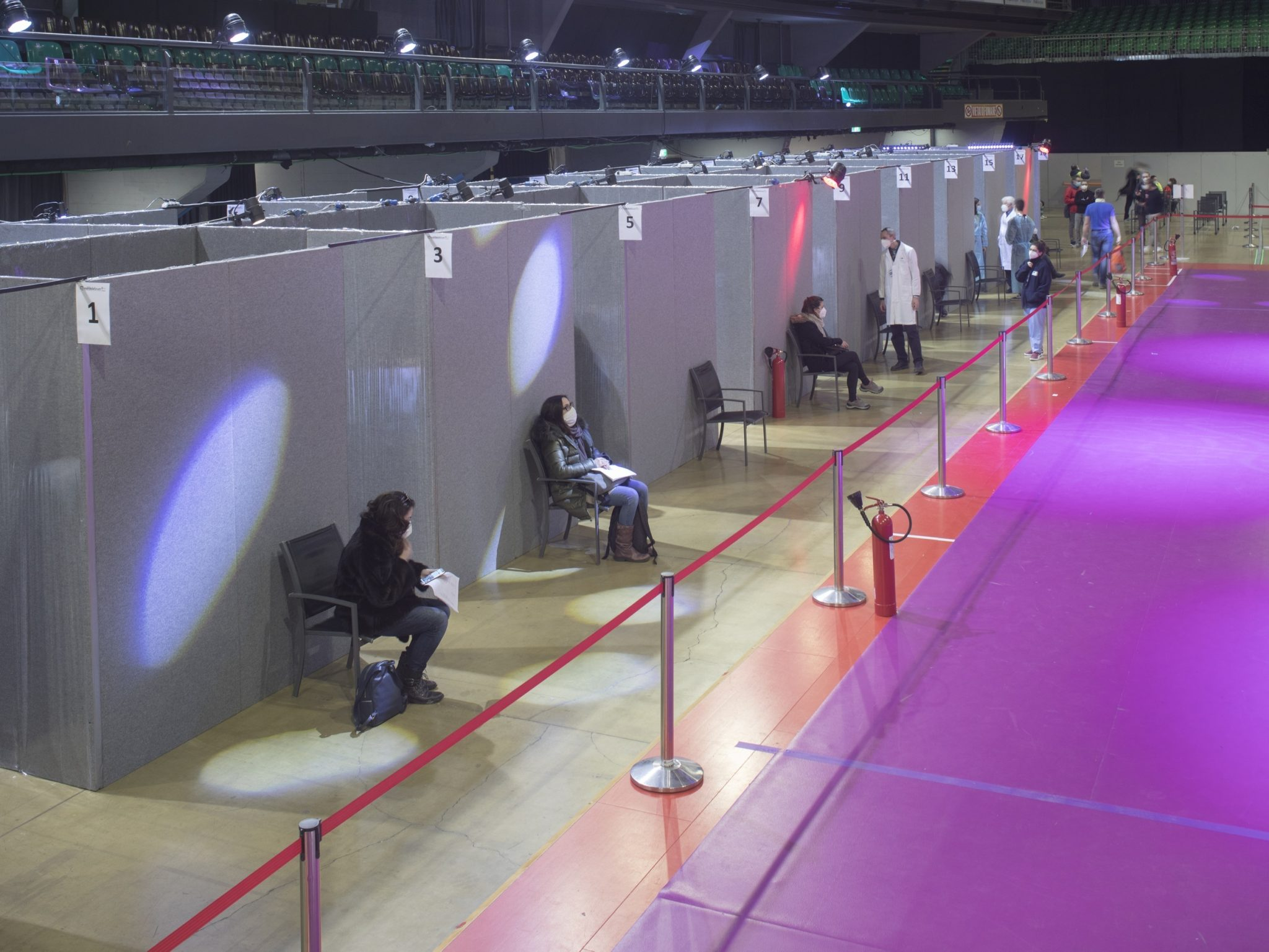 Covid-19 vaccination center inside the Mandela Forum sports hall, Florence, Italy, 2021