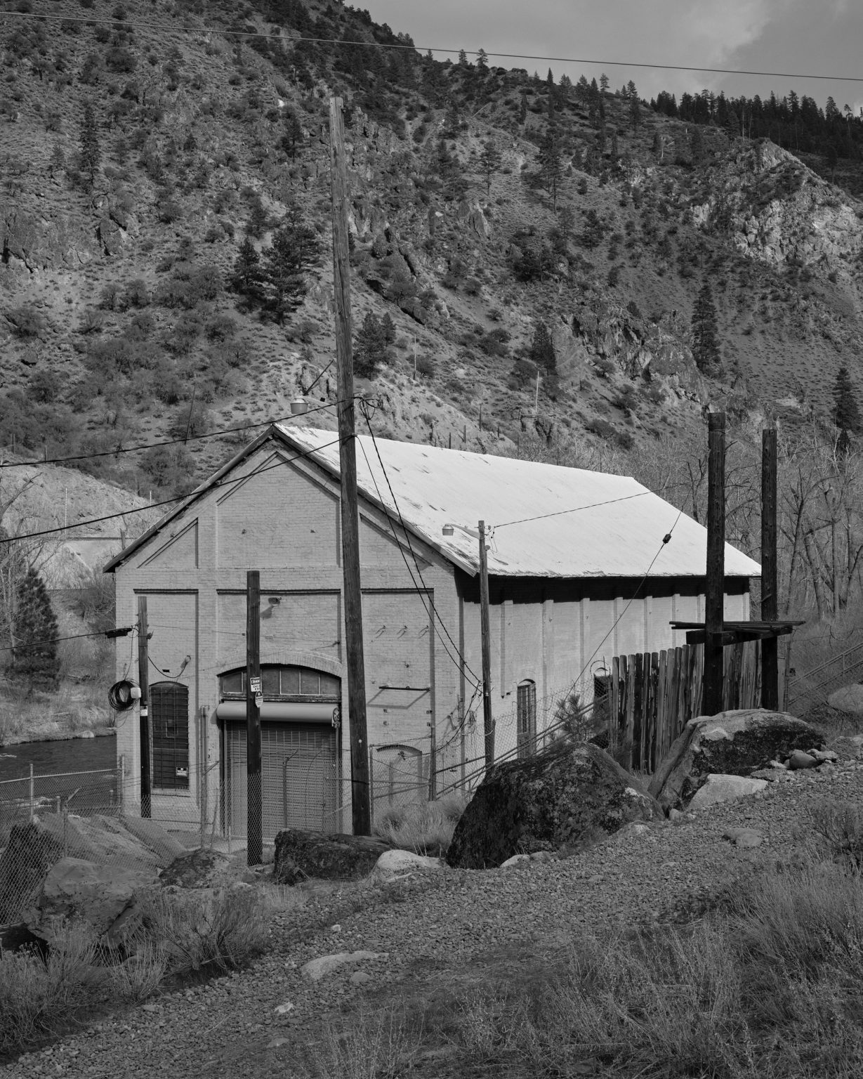 Small hydroelectric plant on the Truckee River. California 2019