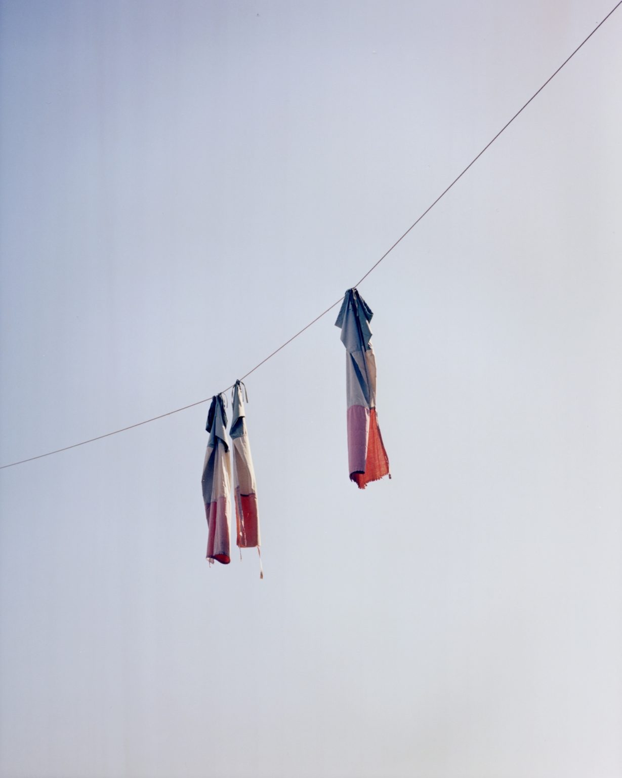 Italian flags hanging. Paesi Vesuviani, Province of Naples. 2020
