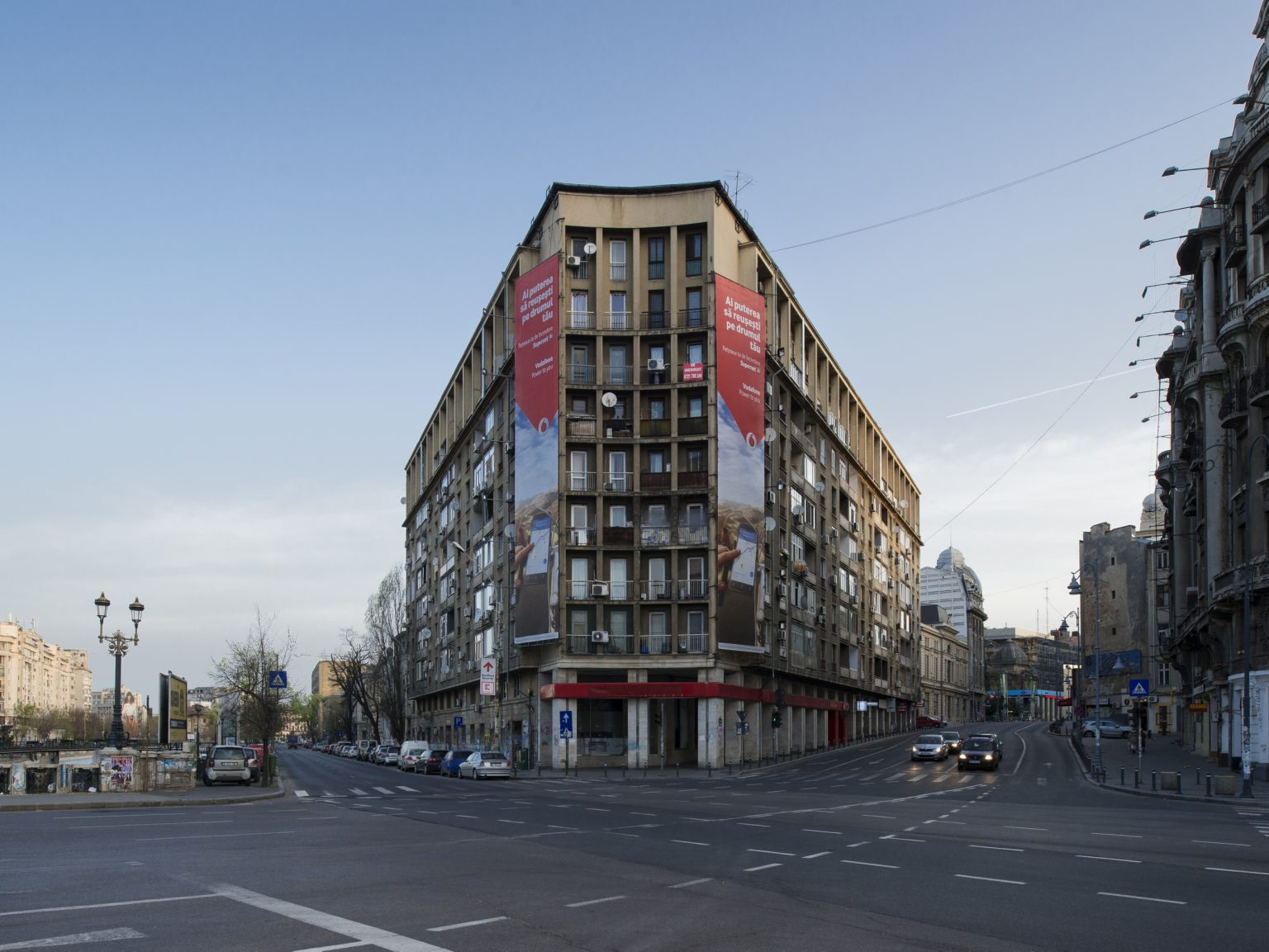 """View  of the block where """"Charm Studios"""" is located, at sunrise. Bucharest, Romania, 2016"""