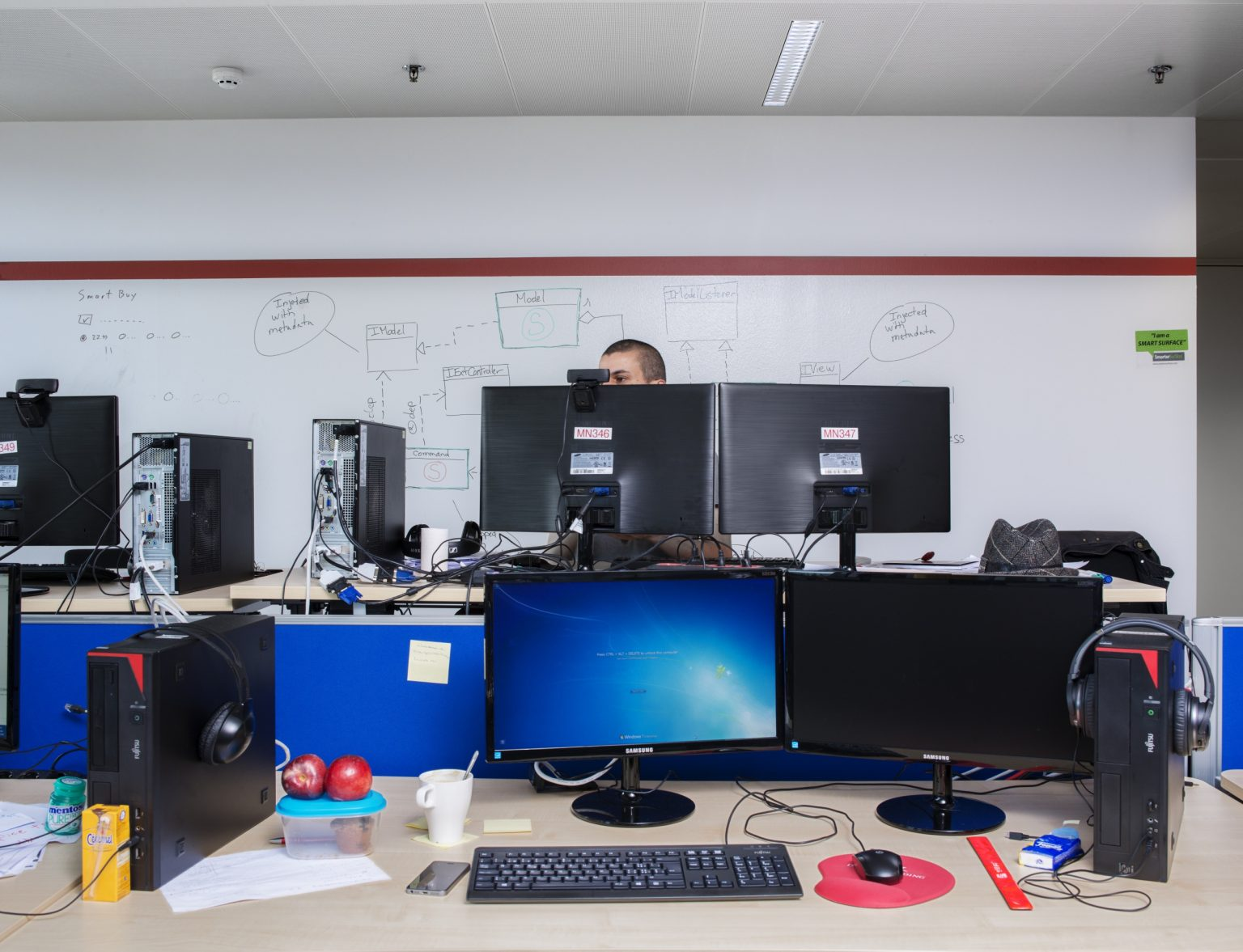 Interior view of the R&D department in the headquarter's office of Live Jasmine. Founded in Hungary in 2001, Live Jasmin is the largest platform provider in the Video chat industry: with 10,000 models online which can earn up to 50,000 euros per day, the website is ranking number one in the world for earnings, cam operations and number of visitors (35 million per day). Grand Duchy of Luxembourg, Luxembourg City, 2016