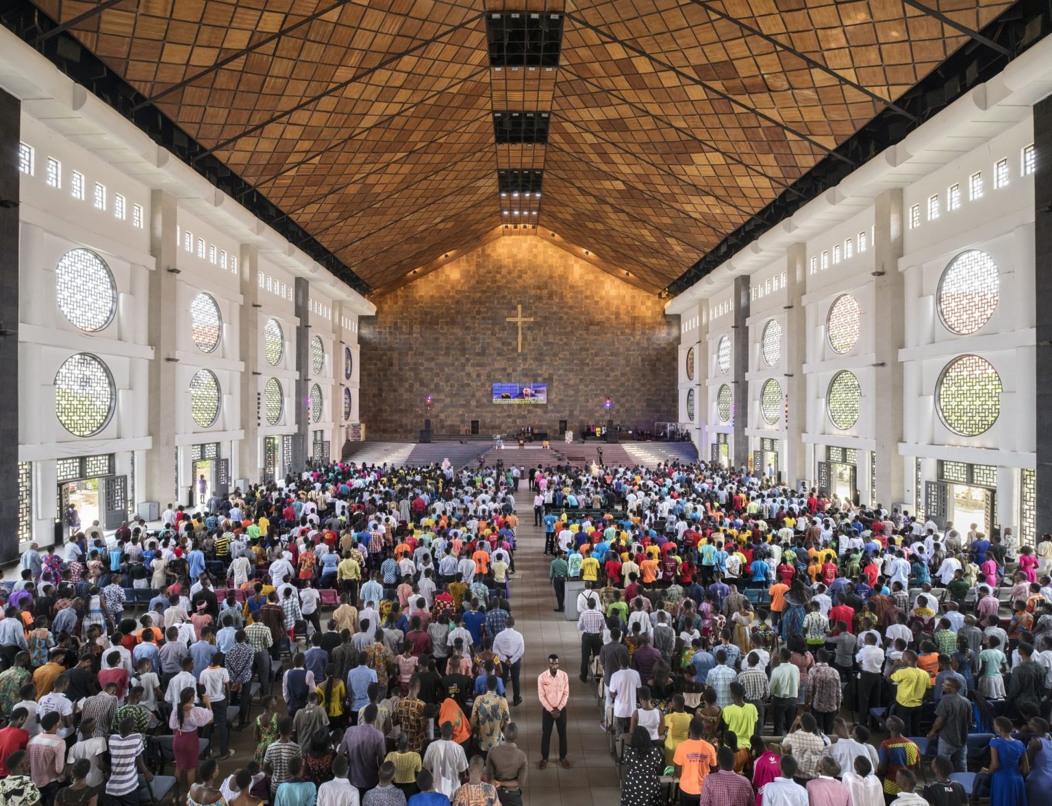 The morning service at The Qodesh, headquarter of Lighthouse Chapel International  located in North Kaneshie suburb. The Qodesh is one of the largest megachurches. Accra, Republic of Ghana, 2019