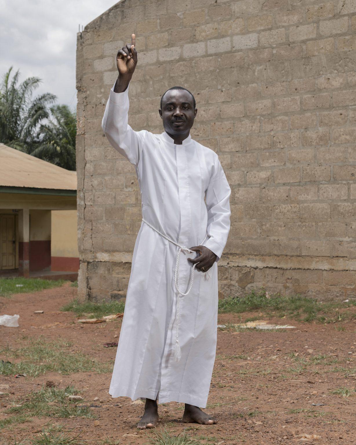 Portrait of a junior pastor of the True Betthel Church.  Kumasi, Ashanti Region, Republic of Ghana, 2019