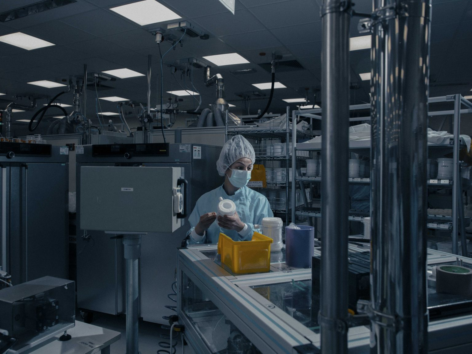 Inside Eurosets in Medolla, Modena - Emilia Romagna. Eurosets manufactures extracorporeal lung devices. The only Italian company produces these devices that reproduce the work of the pulmonary alveoli and artificially generate the carbon dioxide-oxygen exchange, putting the lungs to rest when the respiratory fans are no longer enough. Eurosets went from producing 300 to 1200 oxygenators in one month. Italy, April, 2020