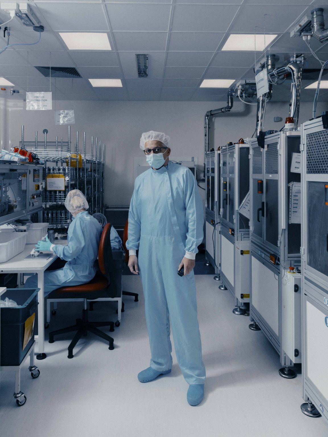 Inside Eurosets in Medolla, Modena. Eurosets produces extracorporeal pulmonary appliances. The only Italian company to manufacture these appliances that reproduce the work of pulmonary alveolus and artificially generate the carbon dioxide-oxygen exchange, putting the lungs to complete rest. Eurosets went from  producing 300 to 1200 oxygenators in a month. Almost all 130 employees moved to its production line. In this image: Giovanni Gelati, Head of the Oxigenator department. Italy, April, 2020