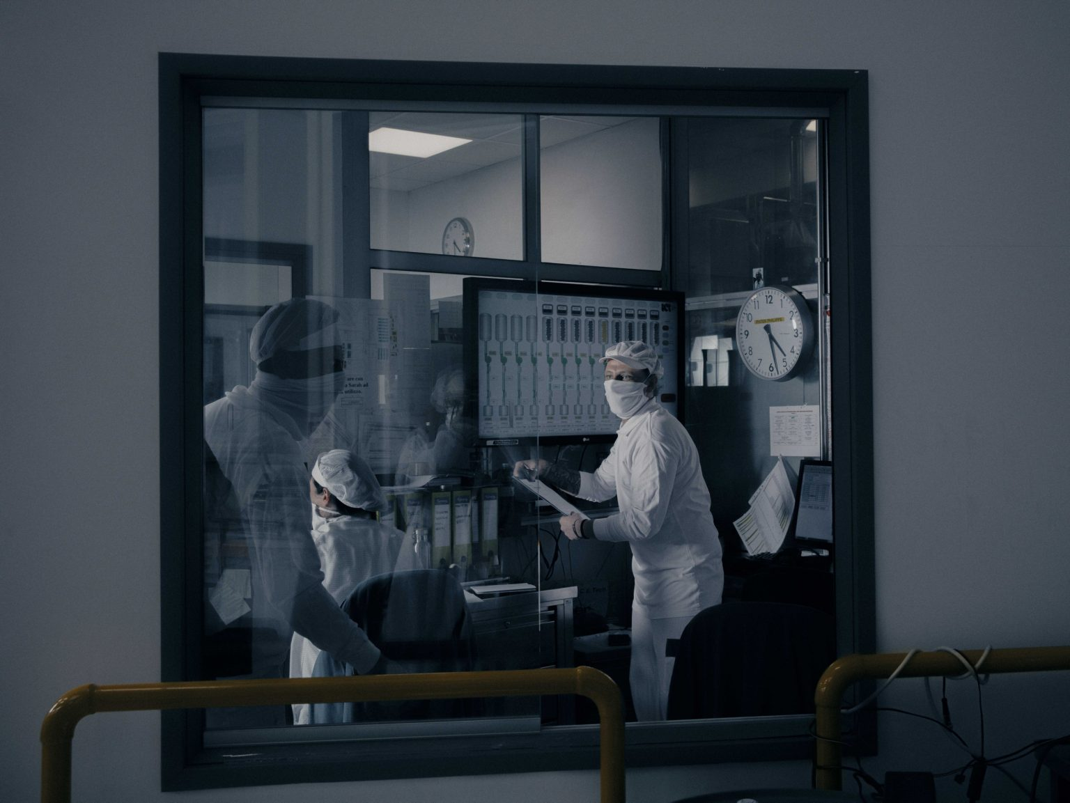 Inside ICS S.p.a. (Industrie Cosmetiche Riunite), in Lodi, Lombardy.  ICS started producing hand disinfectant on behalf of the luxury brand Bulgari in response to the COVID 19 outbreak. Italy, April, 2020