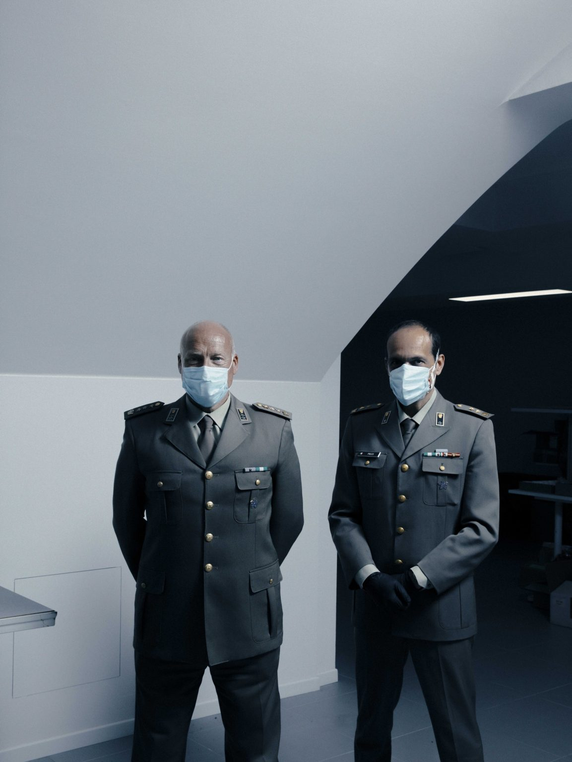 Inside Siare Engineering. «Five hundred lung ventilators per month for four months, from an average of 150 in normal times: the effort to which we have been called is titanic. the company that will provide civil protection with the machines necessary to take care of the most serious patients of Covid-19.  In this image: Colonel Giulio Botto (left) is the operation manager, together with Colonel, vice manager. Valsamoggia, Bologna, Italy, 2020