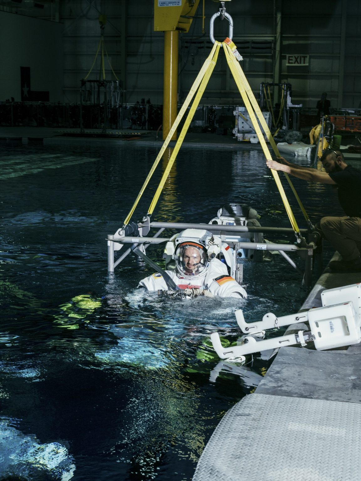 Alexander Gerst at the NASA Neutral Buoyancy Laboratory, an astronaut training facility with a pool containing a 1:1 replica of the International Space Station. NASA Johnson Space Center, Houston, Texas, USA, 2018