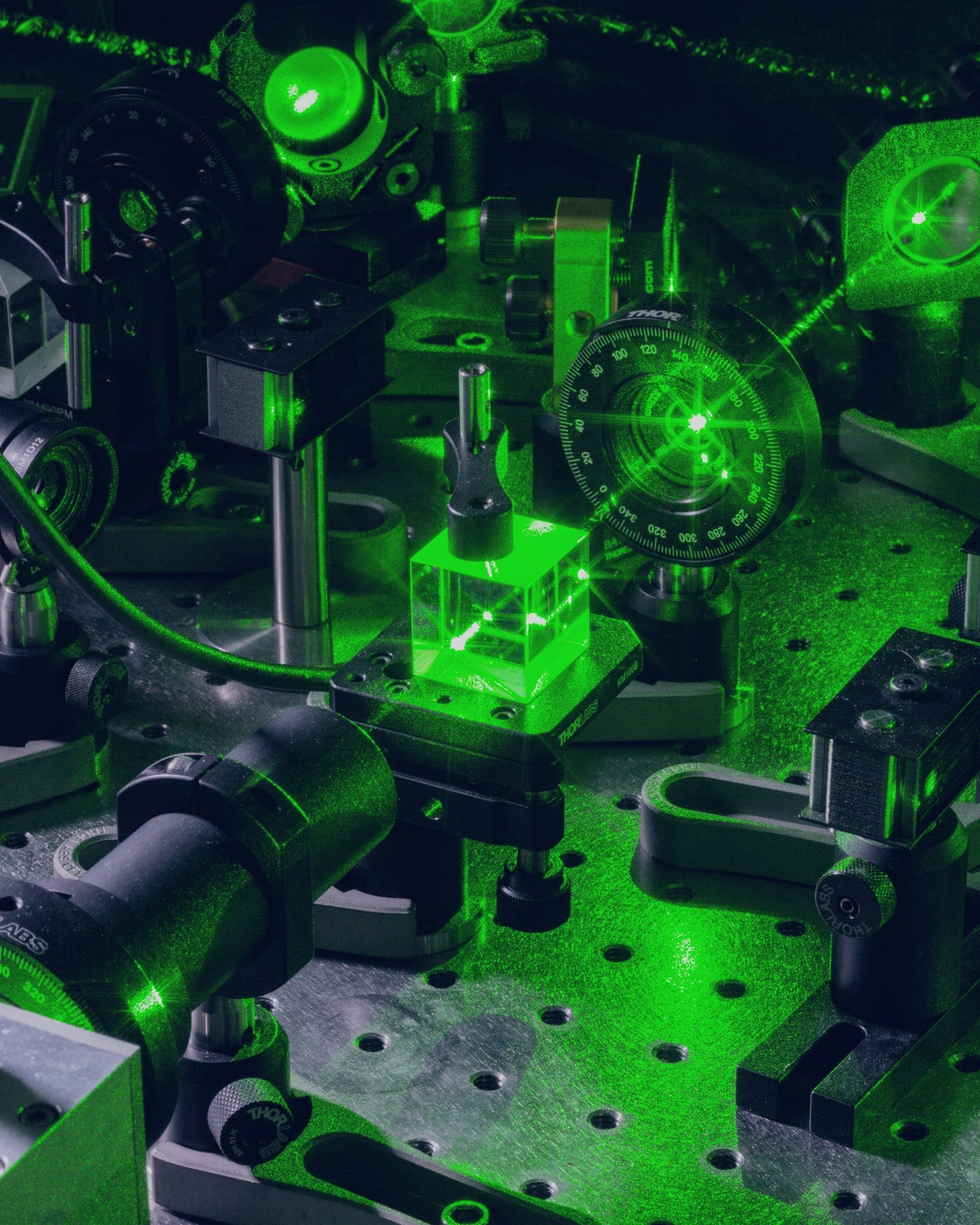 Quantum Engineering Laboratories. Laser beam on an optical table where light is used to store information inside prisms. Massachusetts Institute of Technology, Cambridge, USA, 2017