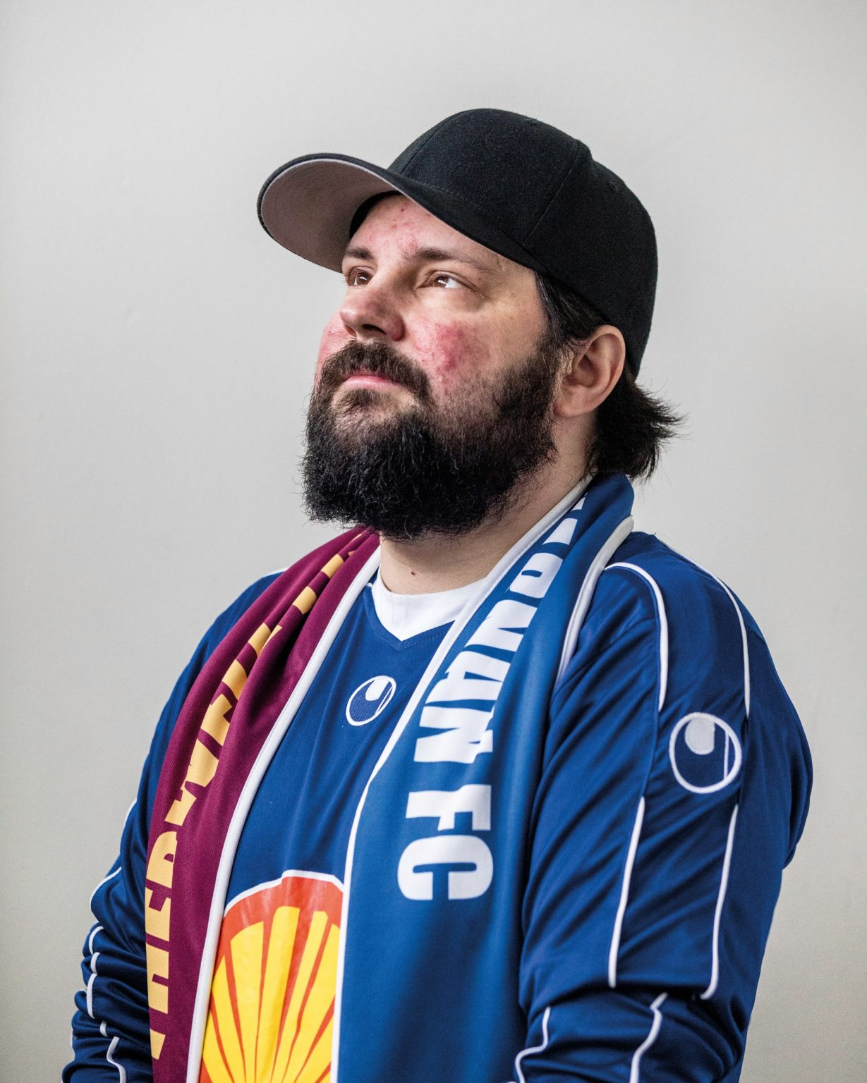 Hákon Freyr Waage, 36, an active member of the Silver Spoon, the Stjarnan fan club. From here comes the Viking applause (geyser sound) that made Iceland fans famous all over the world. Reykjavík, Iceland, 2018