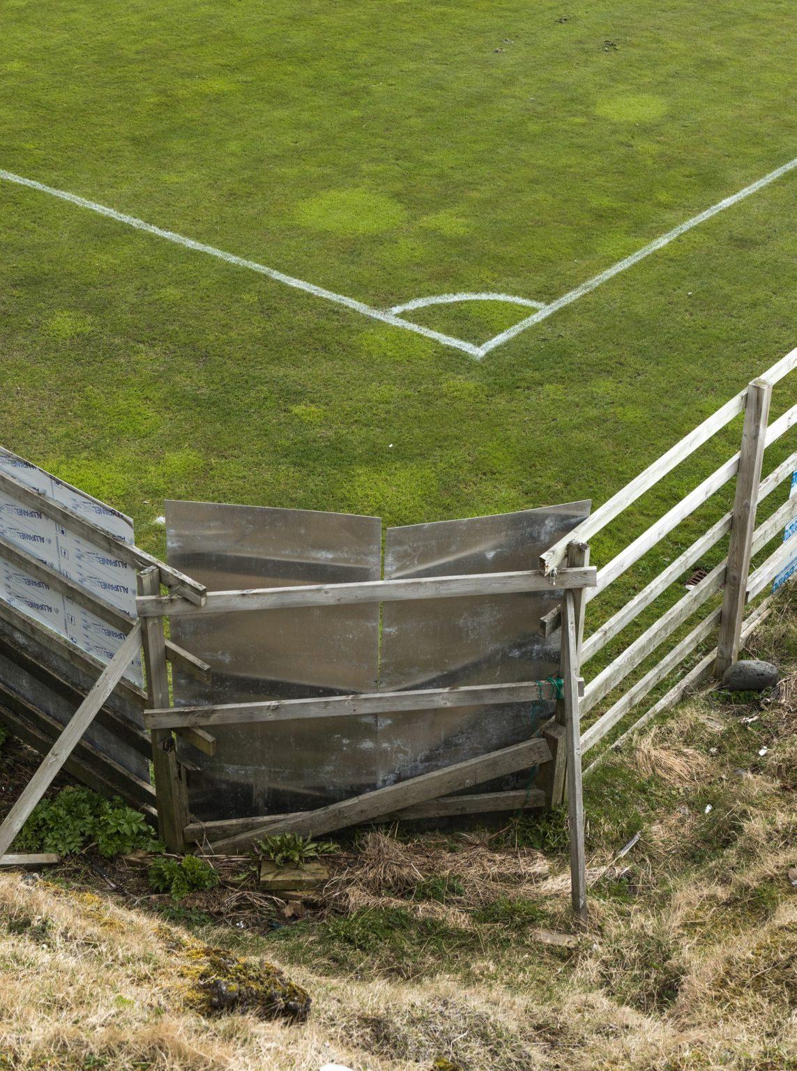 The IBV stadium is in Heimaey, an island of four thousand inhabitants in the Vestman archipelago. Vestmannaeyjar, Iceland, 2018.