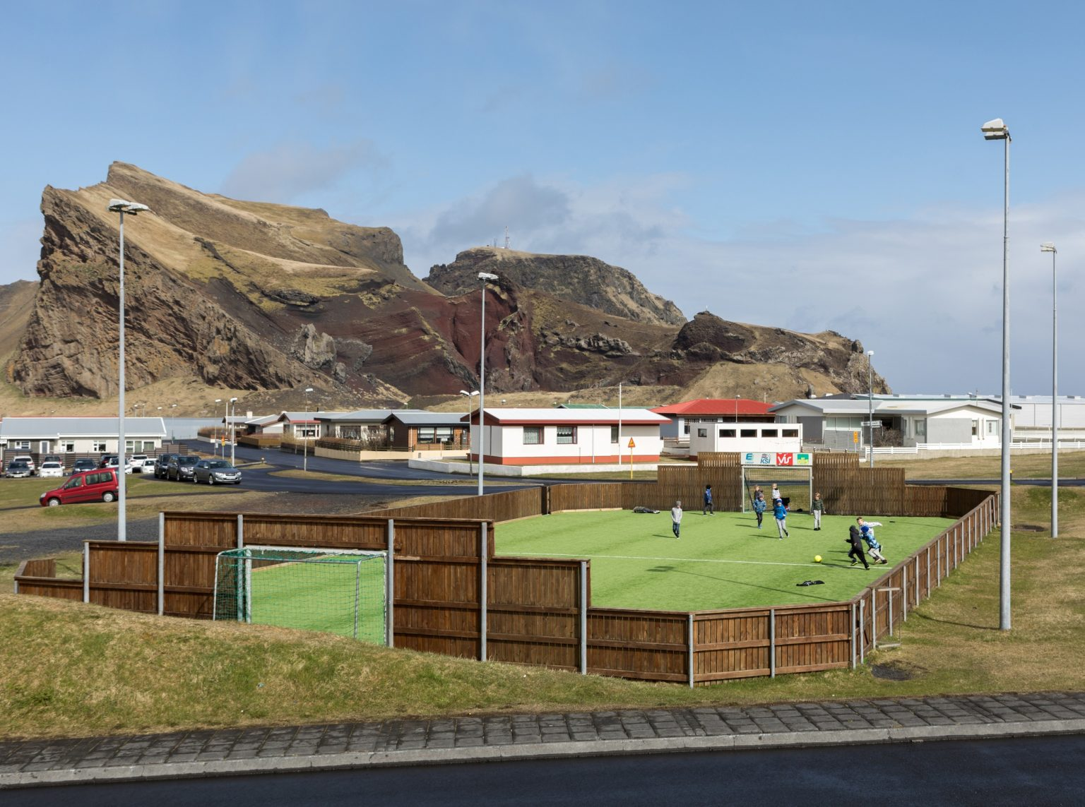 Futsal field in Heimaey. The federation has built about 150 throughout the country to push people to play. Vestmannaeyjar, Iceland, 2018