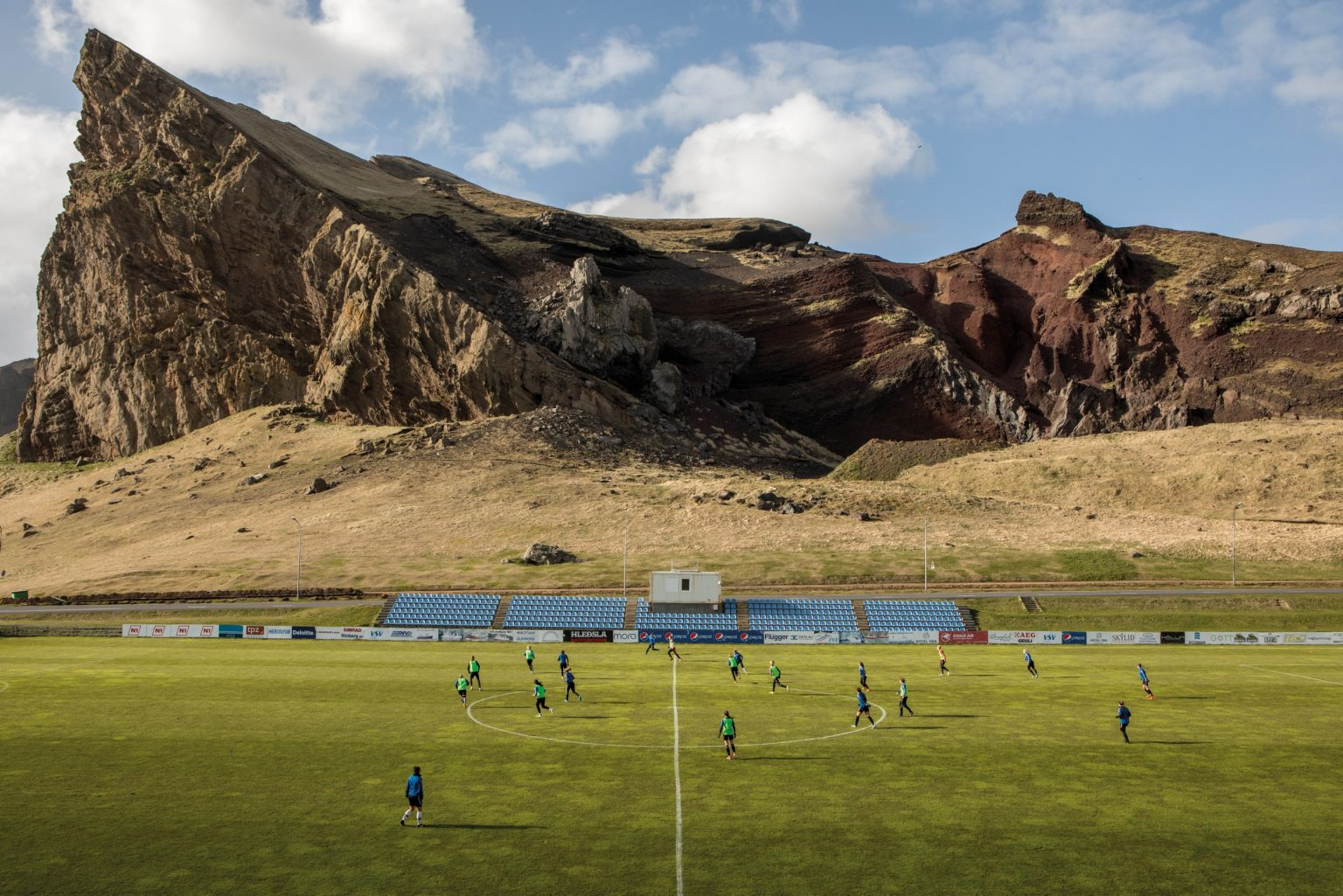The IBV stadium in Heimaey, among the 20 most beautiful stadiums in the world. Vestmannaeyjar, Iceland, 2018