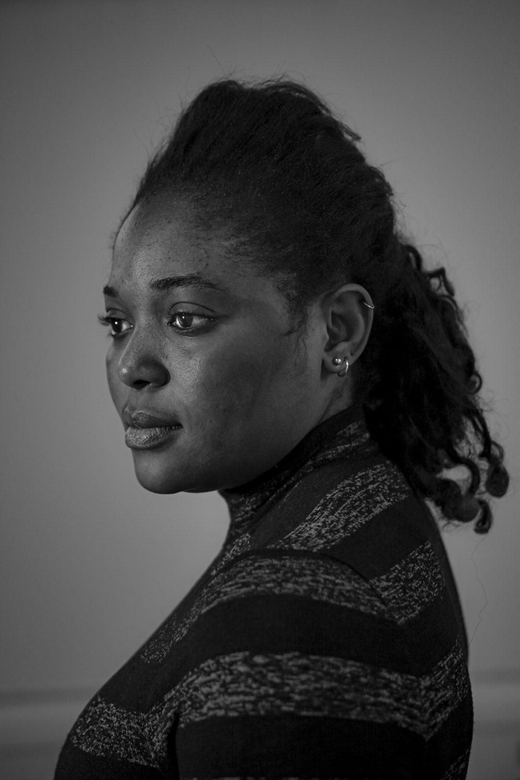 Portrait of Eghe Enofe, born in 1995 in Nigeria. Reggio Emilia, Italy, 2019