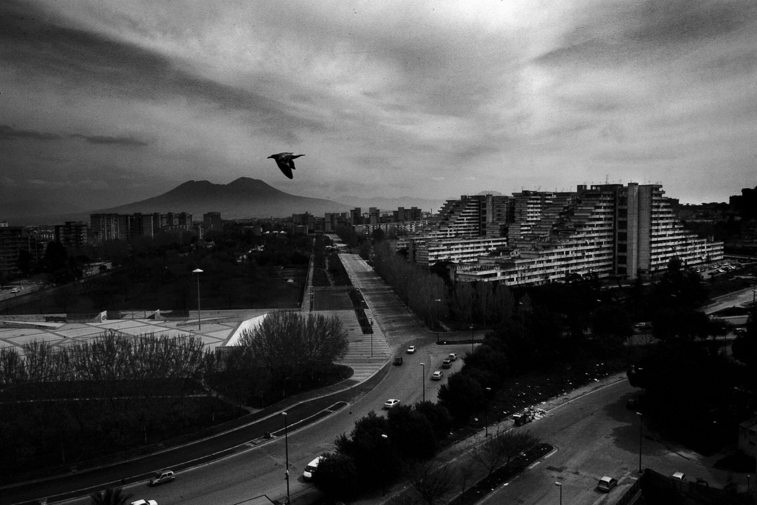 """View of the district and the housing blocks known as """"Vele"""", or Sails because of their shape. Scampia neighborhood. Naples, Italy, 2008"""