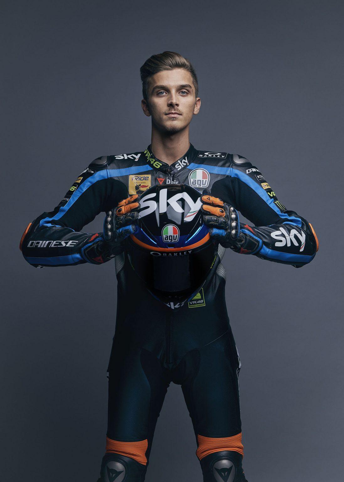 Milan, January 2019 - Luca Marini, Sky Racing Team VR46 motobiker. >< Milano, gennaio 2019 - Luca Marini, pilota della squadra di motociclismo Sky Racing Team VR46.