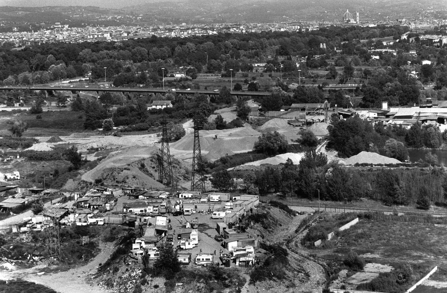 """Florence , 1993 - Nomads' camp - Aerial view >< Firenze , 1993 - Campo nomadi - Veduta dall'alto<p><span style=""""color: #ff0000""""><strong>*** SPECIAL   FEE   APPLIES ***</strong></span></p>"""