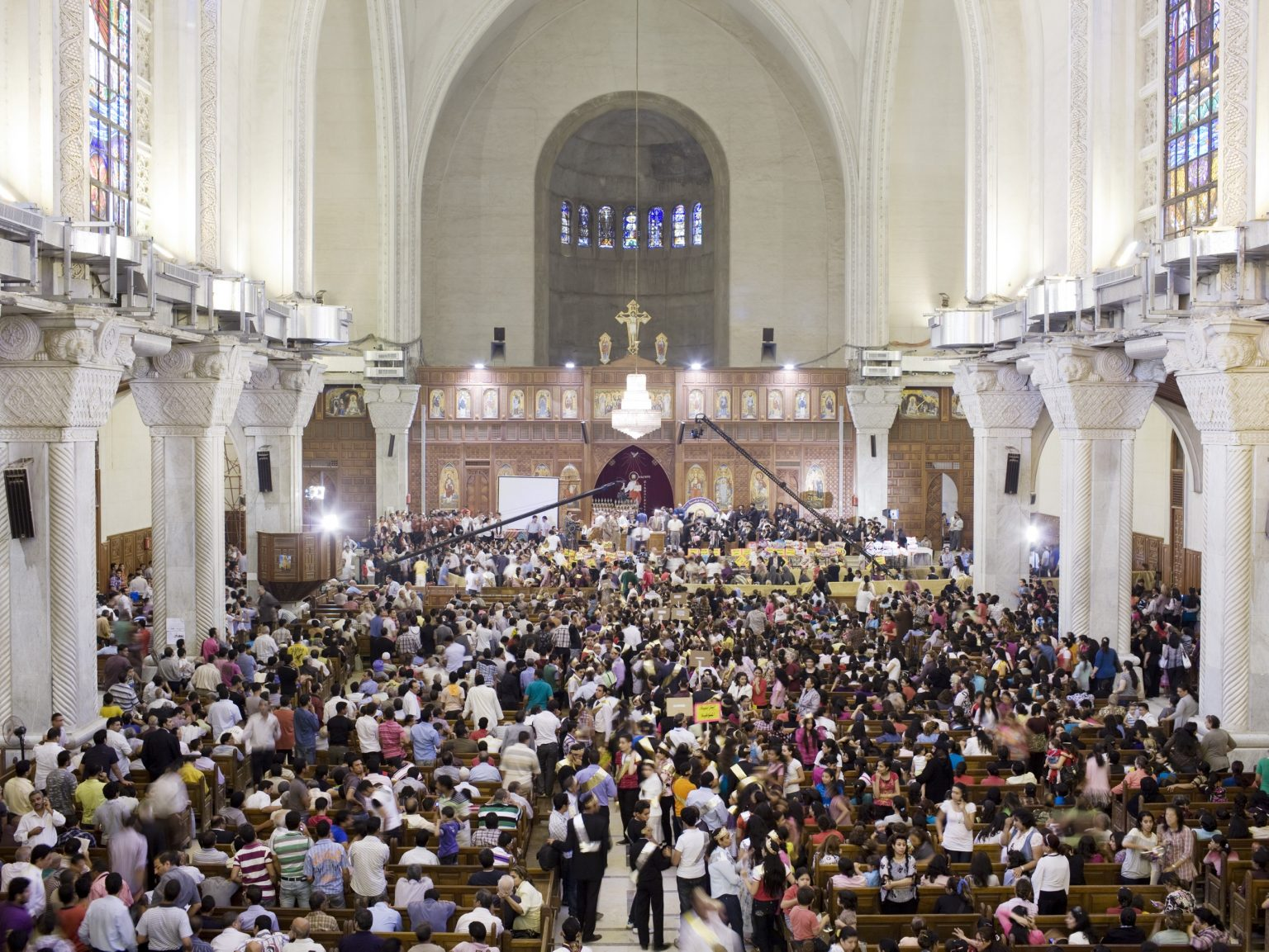 Mass celebration in the Coptic cathedral with the Coptic Pope Shenouda III.