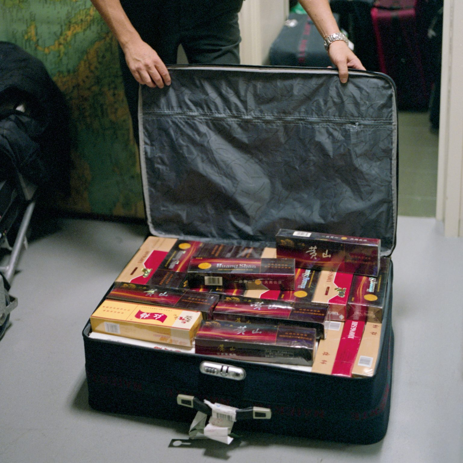 A deposit of bags utilized to smuggle cigarettes.