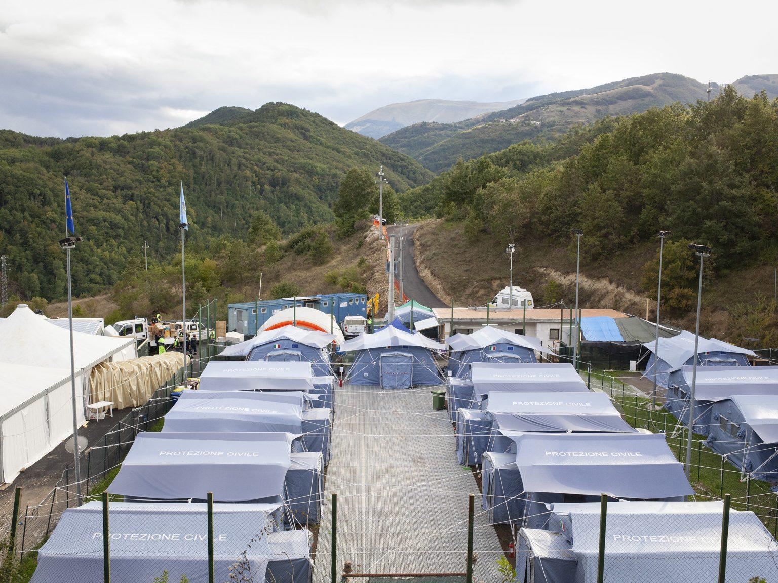 Accumoli, settembre 2016 Il campo temporaneo della Protezione Civile per ospitare gli abitanti di Accumoli.