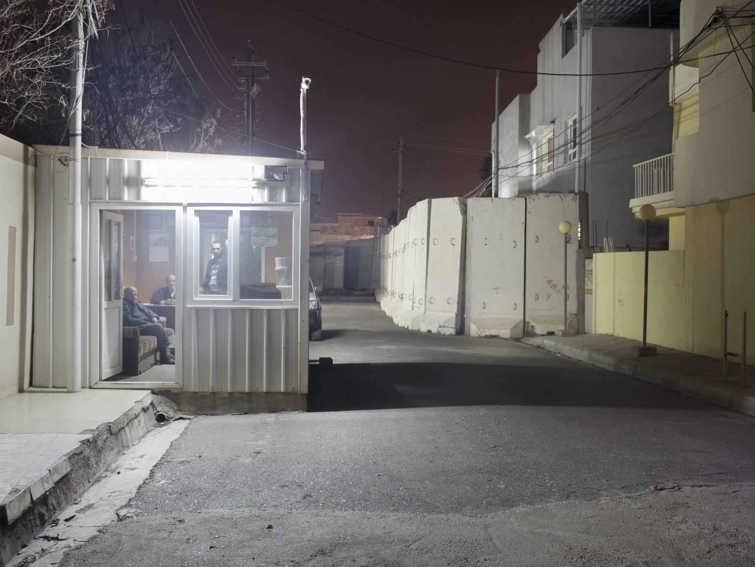 Protective walls at the entrance of the Ishater TV, a Christian television based in Ankawa, Erbil.