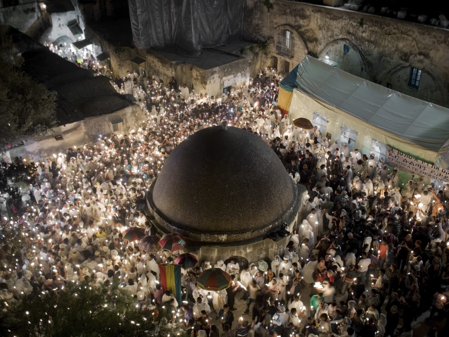 Celebration of the Holy Fire in the Ethiopian section of the Holy Sepulchre.