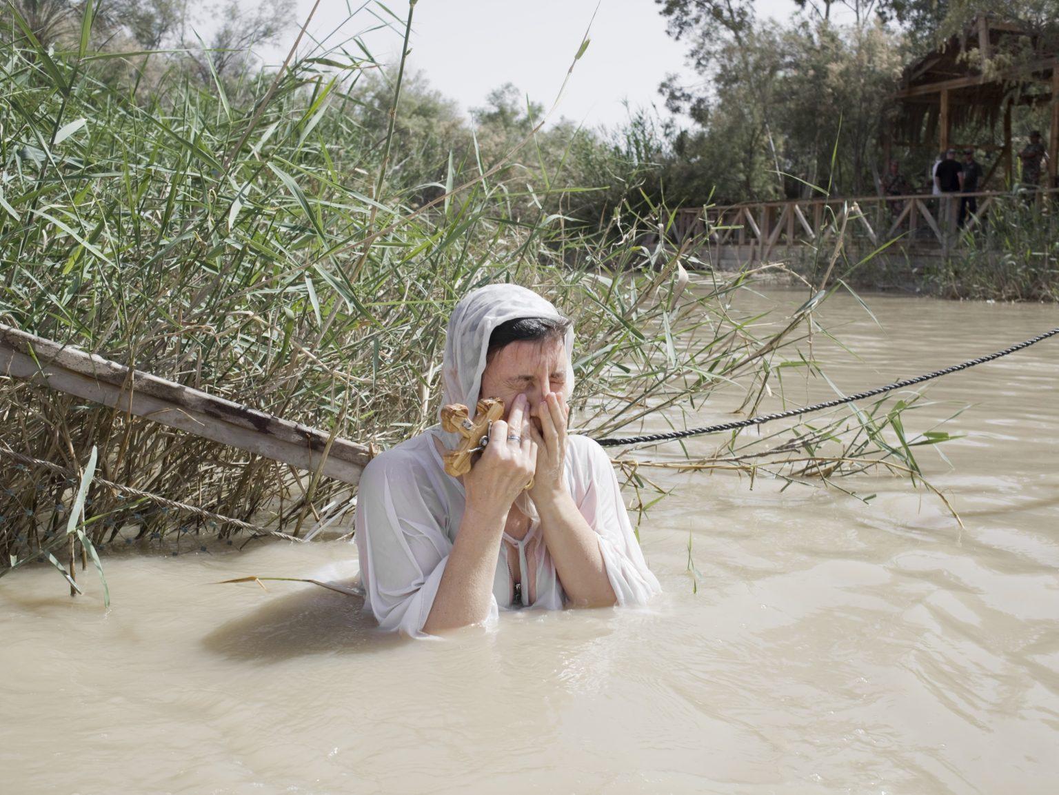 Christians pilgrims in Qasir Al Yahud, the new baptismal site near Jericho in Palestine on the border with Jordan