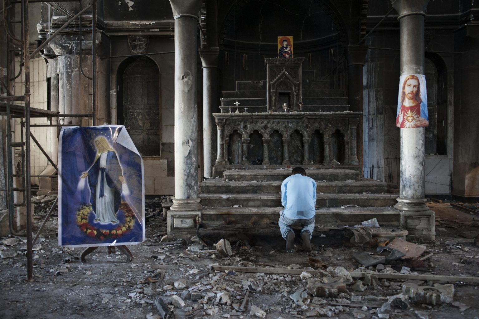 Qaraqosh, Iraq - October 30th 2016 - Archbishop Yohanna Petros Mouche  of Mosul leads a mass at the Church of the Immaculate Conception in the town of Qaraqosh (also known as Hamdaniya), 30 kms east of Mosul, after Iraqi forces recaptured it from Islamic State . The mass was the first after the freed of the town. Ph.Giulio Piscitelli