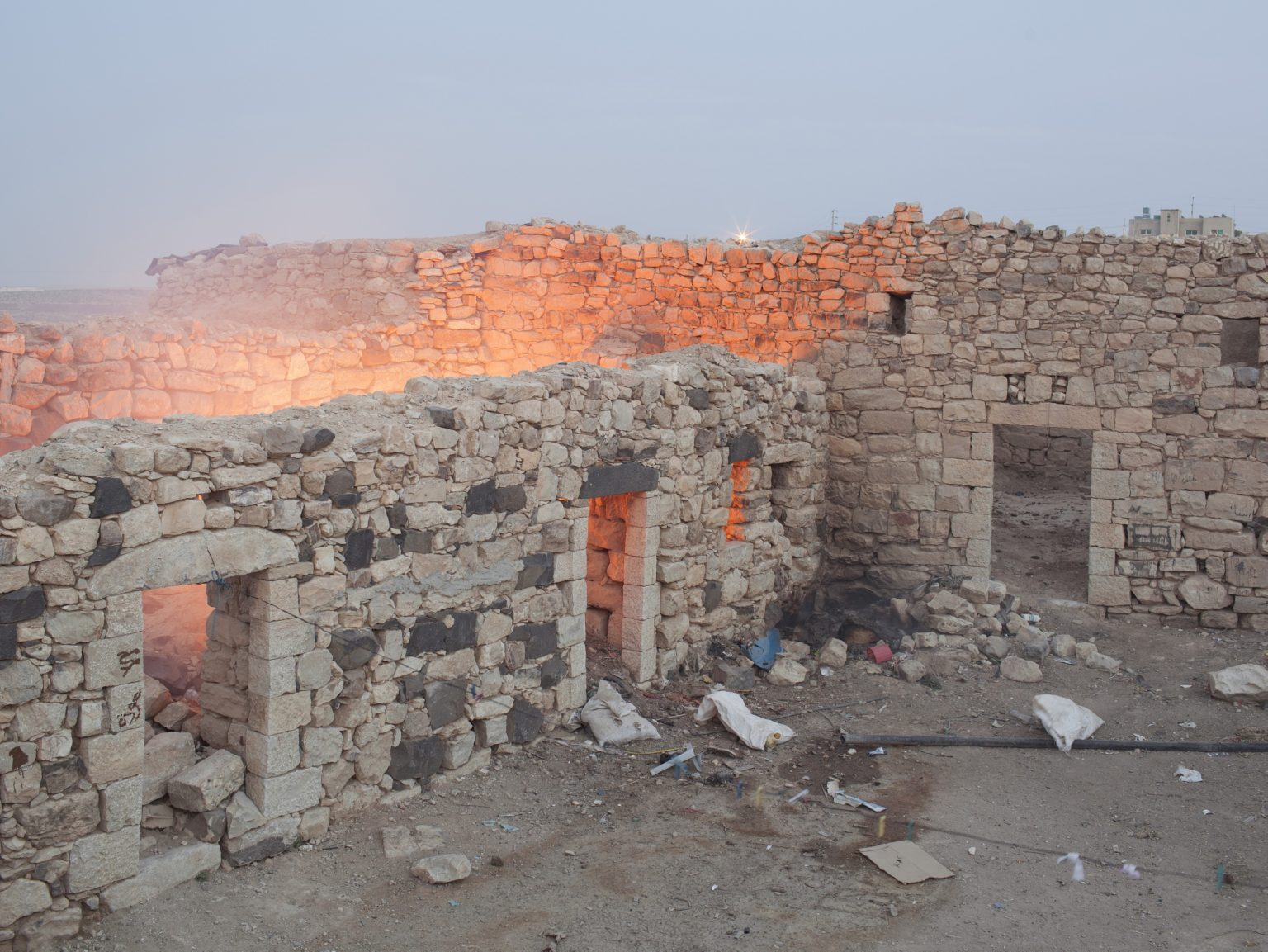 View of the old abandoned houses of Smakieh, a small town in the Jordan desert inhabitated by two Christian families.