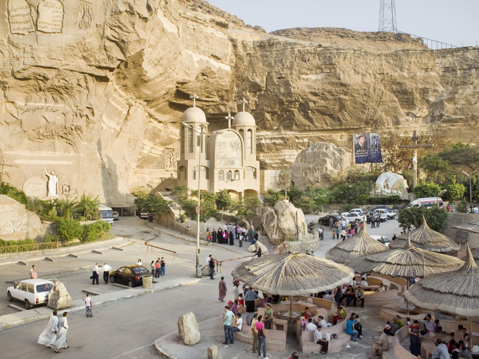 View of the Cave Church in Garbage City. This church is the largest church in the Middle East.
