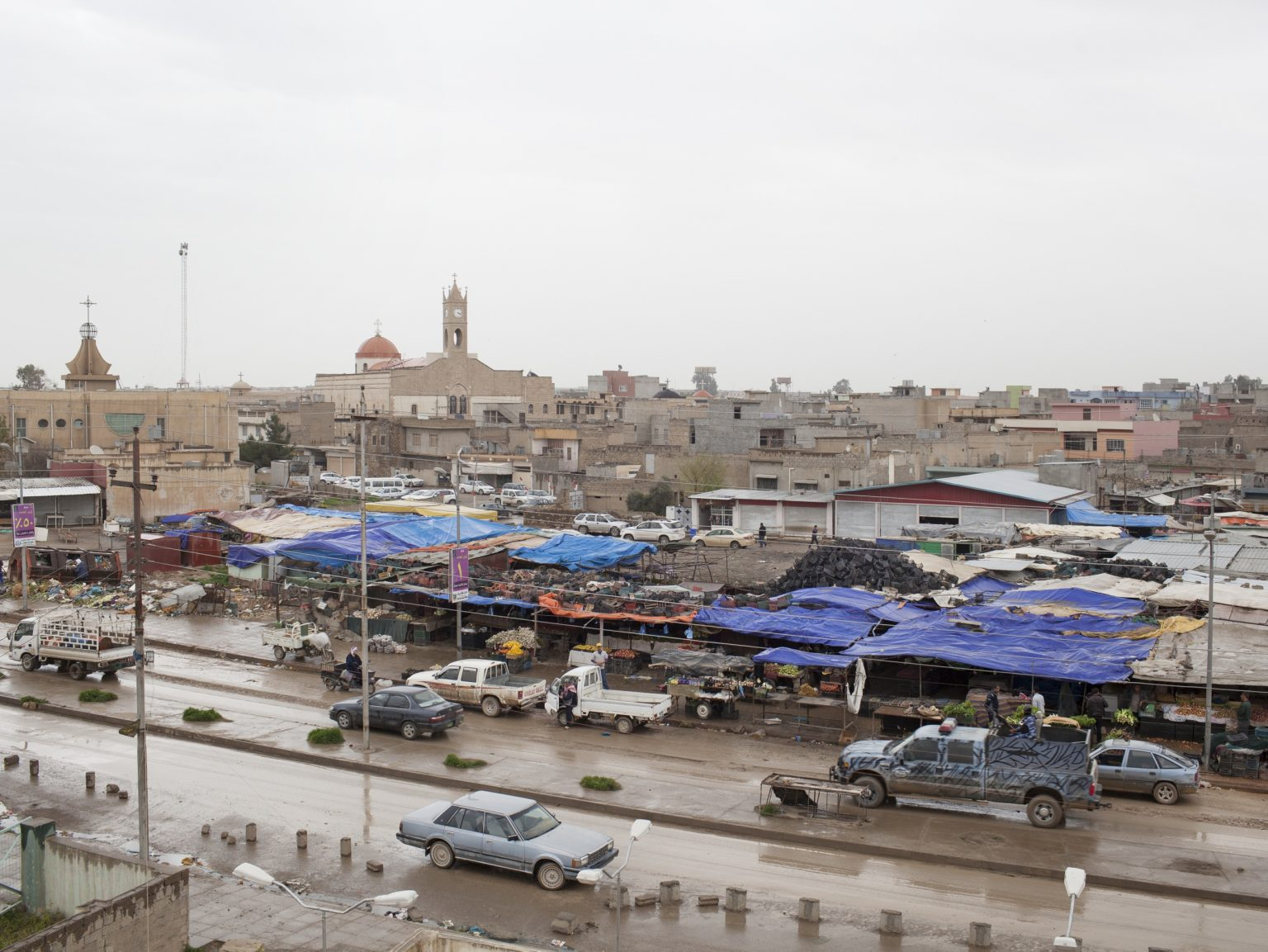 View of Qaraqosh, a Christian town on the border between Iraq and Kurdistan with seven churches. The municipality of Qaraqosh has been organizing a Christian militia in the city of Qaraqosh in order to protect the population from terroristic assoults.
