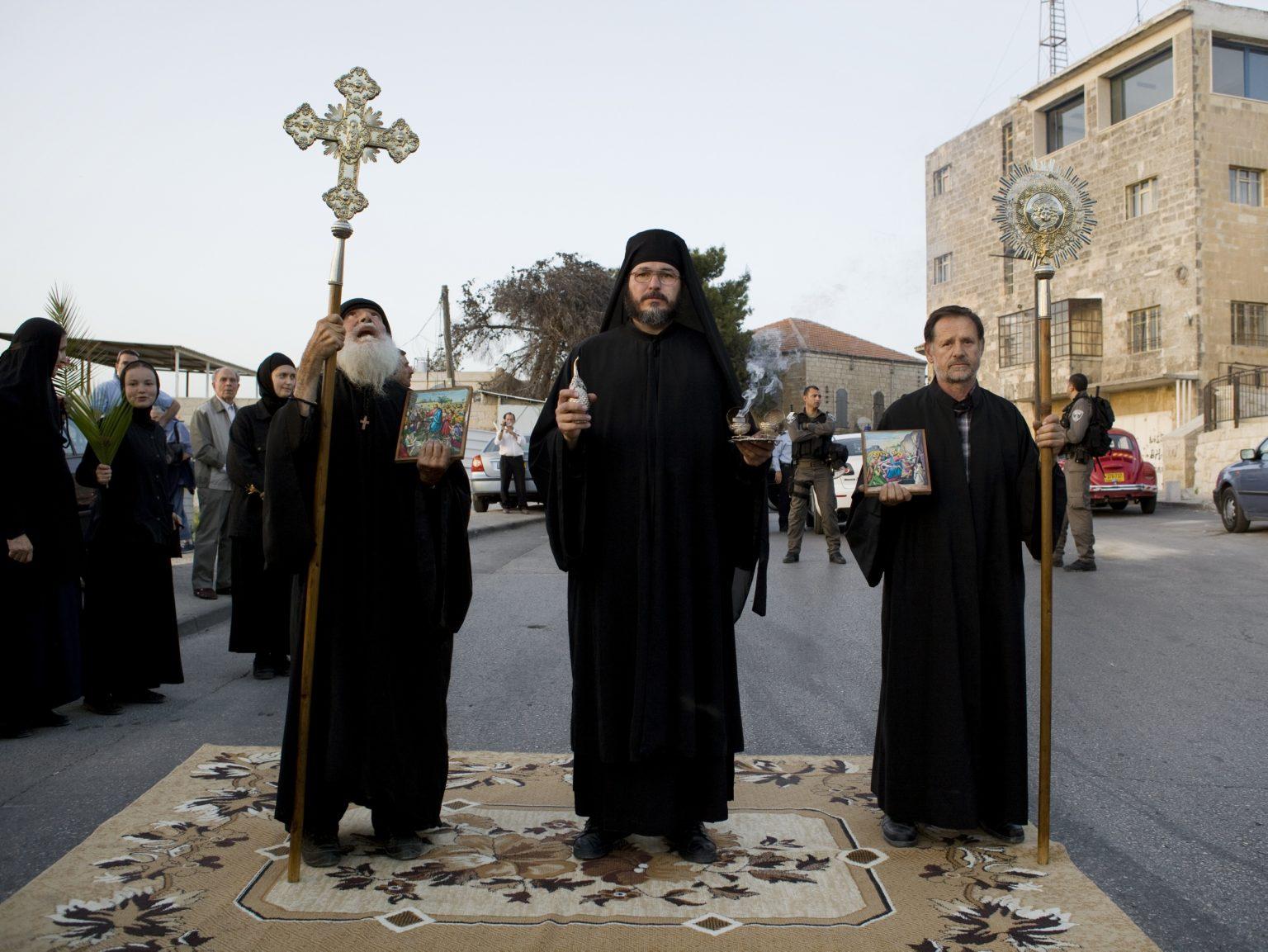 Greek Orthodox Christians during the Palm Sunday in East Jerusalem celebrating the entrance of Jesus in Jerusalem.