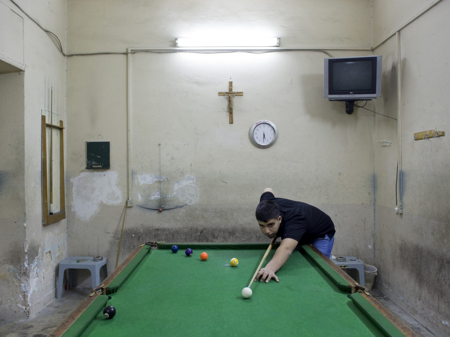 Billiard room in a Christian caffee bar in Beit Sahour, a Christian town in the outskirt of Bethlehem.