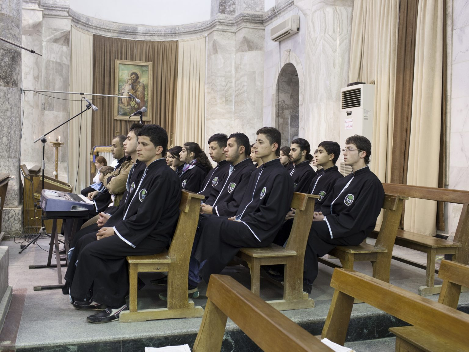Al-Tahira Church, Syriac Catholic church choir in Qaraqosh, a Christian town on the border between Iraq and Kurdistan.