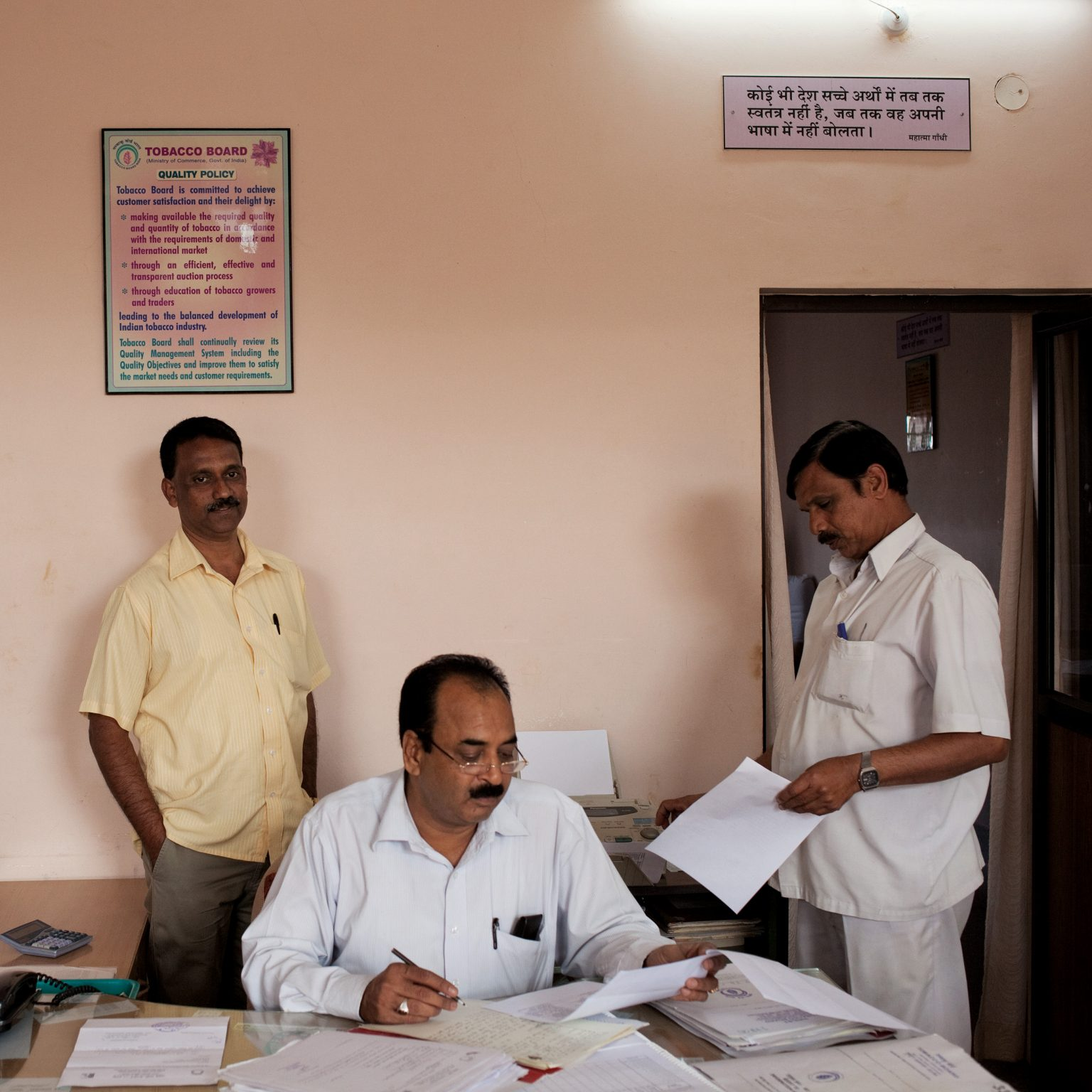 Mysore, India. Tobacco Board Headquarters. Ganesh V.K. (left), senior grading officer, Mr Maiesh (center), field assistant, and an office employee (right). The central government regulates the production and selling of flue-cured Virgina (cigarette) tobacco, and runs a series of auction platforms where farmers and tobacco companies can have a direct relationship. In addition, the Tobacco Board controls the number of tobacco farmers by providing production licenses.