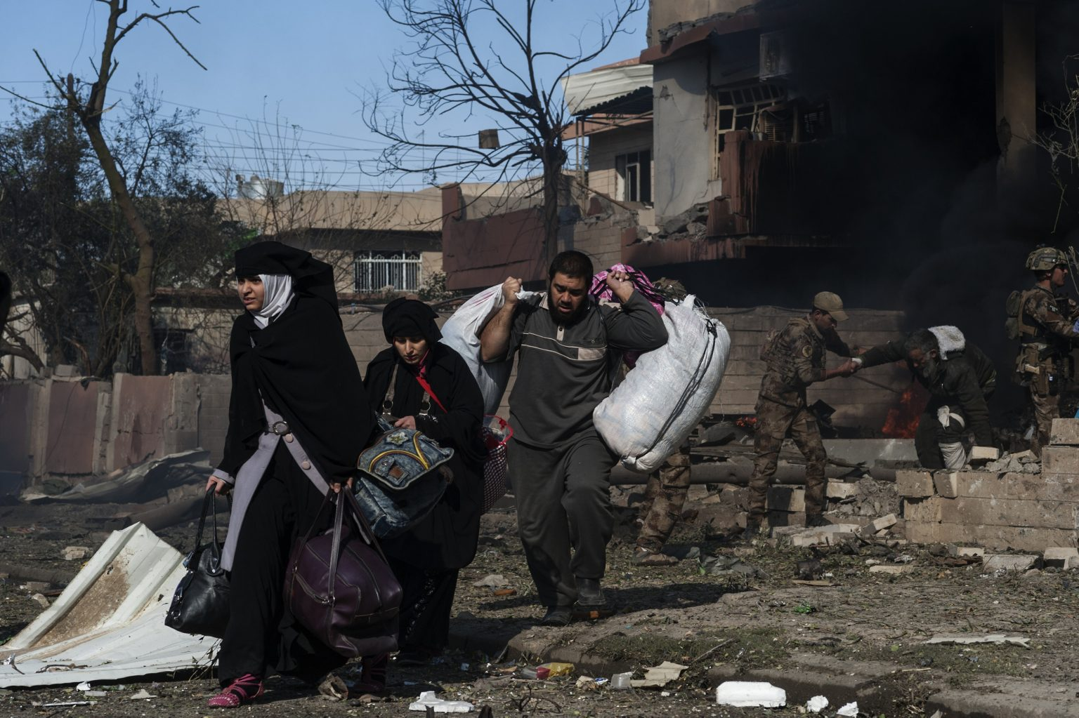 Iraq, Mosul- November 19th 2016 -Iraqi army operation in the area of Tahrir, during the battle to liberate the area from the fighters of the so called Islamic State, the army evacuated several civilians trapped in their houses due the heavy fightings. Ph.Giulio Piscitelli