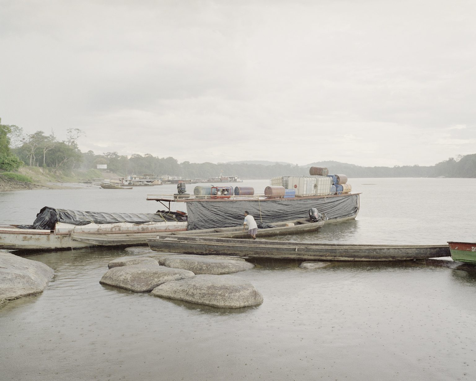 A boat on the Orinoco river along the border with Colombia, here the smuggling is widespread mainly with gasoline and food.